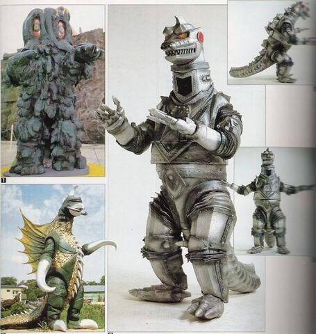 File:Gigan, Hedorah, and MechaGodzilla suits.jpg