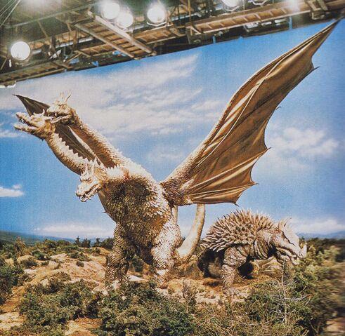 File:DAM - King Ghidorah and Anguirus On Set.jpg