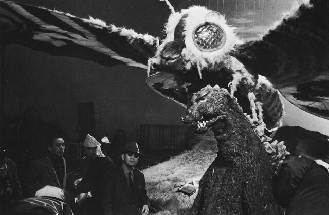File:MVG - Mothra Prop On Top of Godzilla Suit.jpg