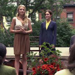 Blair announcing to everyone that Serena had