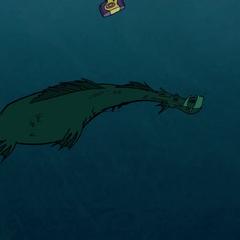 Живогрыз плывёт в толще воды.