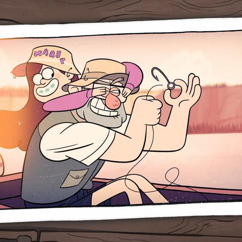 Все буквы на шляпе Мэйбл розового, а на шляпе Диппера голубого цвета.