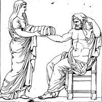 800px-Rhéa présentant une pierre emmaillotée à Cronos dessin du bas-relief d'un autel romain
