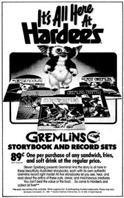 Hardees Ad Gremlins Storybook and Record Sets