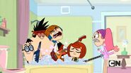 But the bathtub is occupied by a certain brother of hers and his band