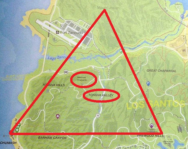 Tongva Triangle on Gta Online Car Locations