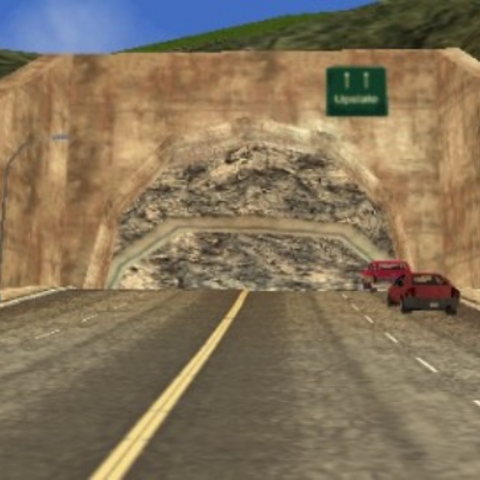 The open tunnel entrance.