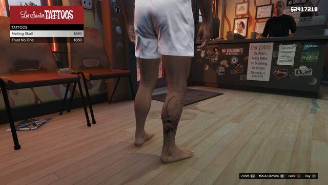 File:Tattoo Franklin Right Leg GTAV Melting Skull.jpg