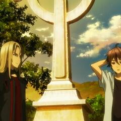 Shu and Gai at Kurosu's grave