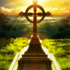 Kurosu gravesite by the Ocean in Episode 8