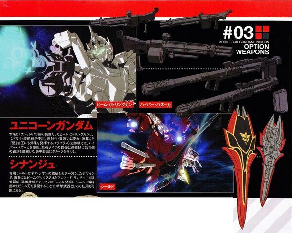 File:RX-0 - Unicorn Gundam - MSN-06S - Sinanju - Optional Weapons.jpg