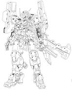 Gundam astaroth origing front BW lineart