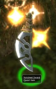 Notched sword ground