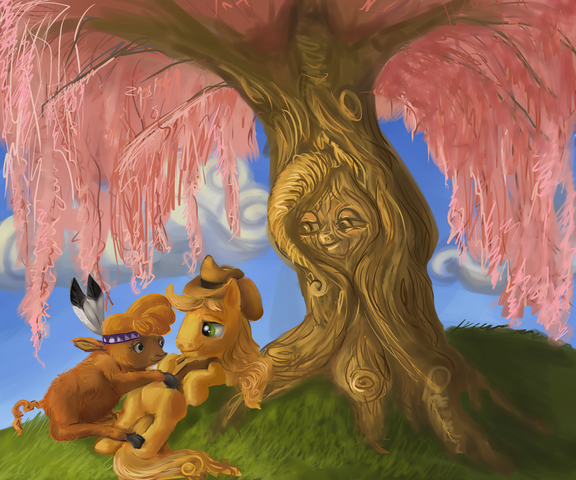 File:13019 - artist-suranon braeburn disney fluttershy fluttertree leafing the dream Little strongheart parody Pocahontas tree.png