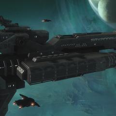 数架军刀战斗机护送UNSC护卫舰莎瓦纳号。