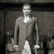 Javier Muñoz as Alexander Hamilton black and white