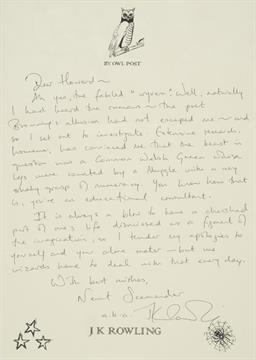 File:A fine autograph letter signed, Newt Scamander a.k.a. J K Rowling, By Owl Post.jpg