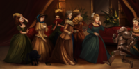 Portrait of a group of women in crinolines