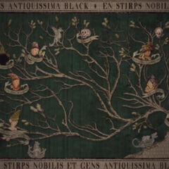Комната с фамильным деревом Блэков (фрагмент). Присутствует только в игре и фильме.