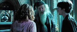Harry, Hermione, & Dumbledore in hospital wing