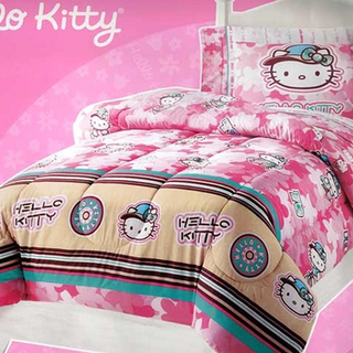 Hello Kitty as a tomboy on bedsheets