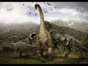 A pack of a V-Rex attacks a sauropod