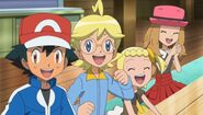 Ash and friends exciting smile