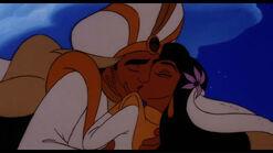 Aladdin and Jasmine finally married share a kiss