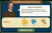 Quest Investigate the Secluded Treehouse-Rewards