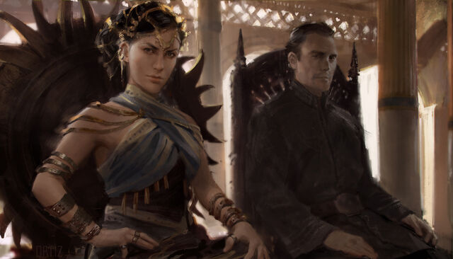 Archivo:Princess Nymeria and Mors Martell enthroned in Sunspear by Karla Ortiz©.jpg