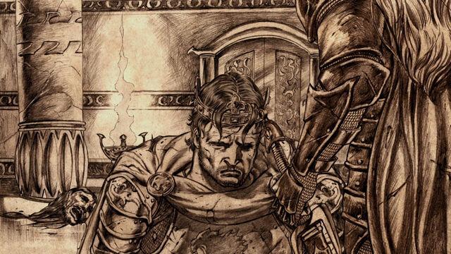 Archivo:Loren Lannister dobla la rodilla ante Aegon I Targaryen.jpg