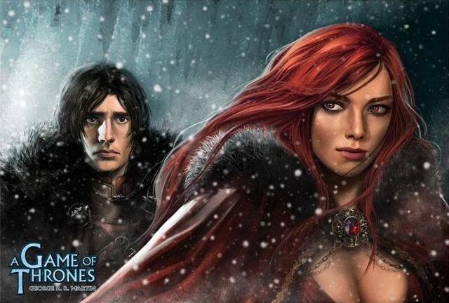 Archivo:Jon y Melisandre by Alexandre Dainche, Fantasy Flight Games©.jpg