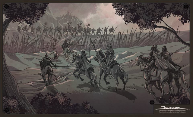 Archivo:Ser Artys y los Ándalos luchan contra los Primeros Hombres del Valle HBO.png