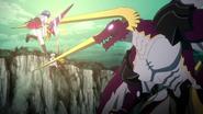 Tannin blocking Xenovia and Kiba's attack