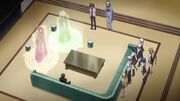 Occult Research Club discussing with Sirzechs and Ajuka about Rias