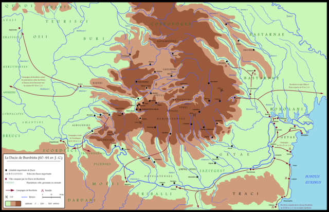 File:Dacia around 60-44 BC during Burebista, including campaigns - French.png
