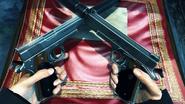 47 retrieves his Signature Pistols