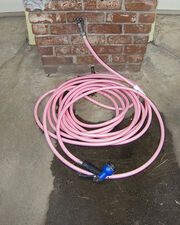 Pink hose waits for sunny days