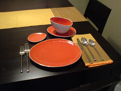 Dishes and new silverware