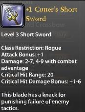 1 Cutter's Short Sword