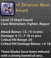 3 Dwarven Short Sword