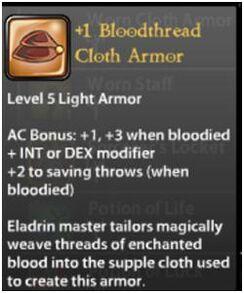 +1 Bloodthread Cloth Armor