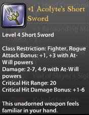 1 Acolyte's Short Sword