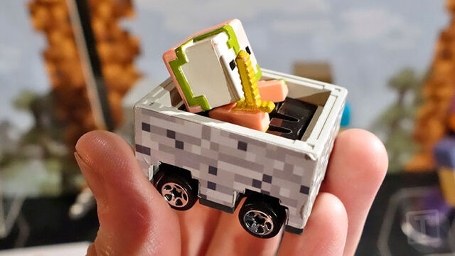 File:A Minecraft mini figure riding inside a Hot Wheels Minecraft Cart..jpg