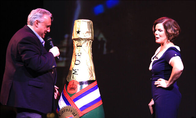 File:John Heald introduces actress Marcia Gay Harden on Carnival Dream.jpg