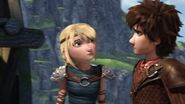 Astrid and Hiccup and bonecrusher walks away
