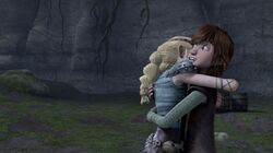 Hiccup and Astrid sharing a hug Frozen