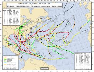 2005 Atlantic hurricane season map