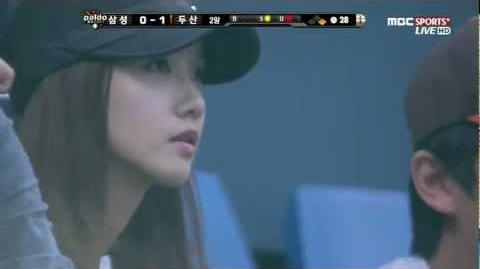120615 - Yoona (SNSD) - Watching Baseball Game (Samsung vs. Doosan)