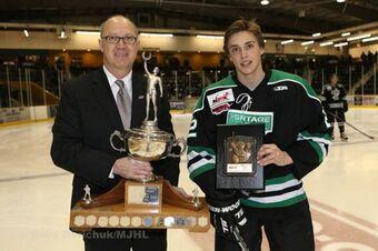 Tyler Jeanson receives Vince Leah Memorial Trophy
